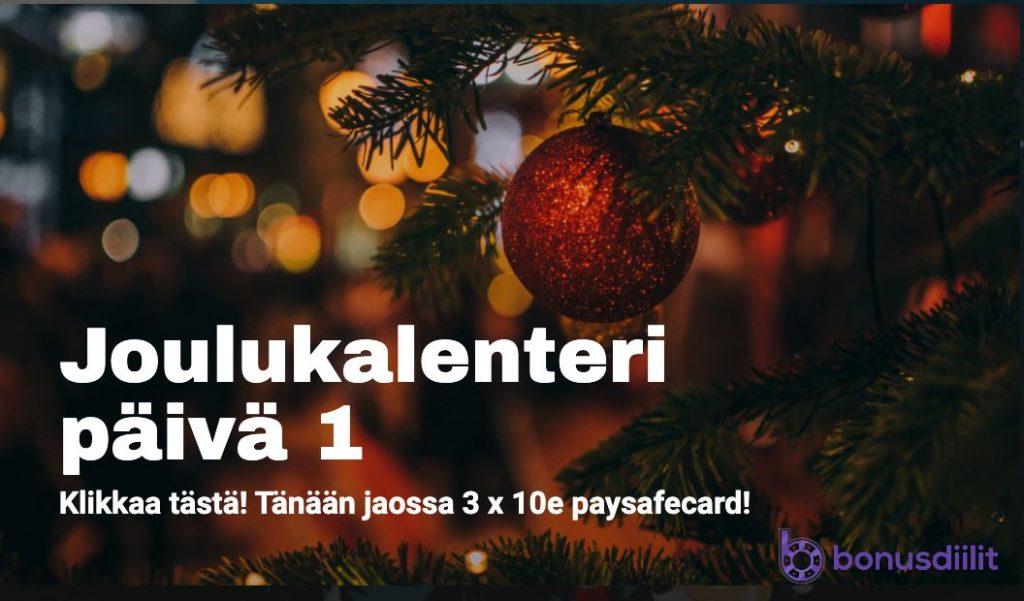 joulukalenteri päivä 1 bonusdiilit