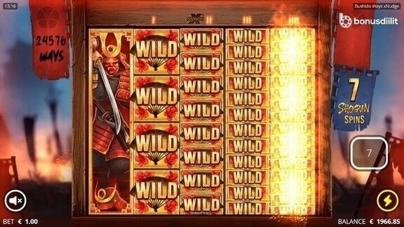 Bushido ways xNudge (Nolimit City) - Uusi korkean volatiliteetin peli 3
