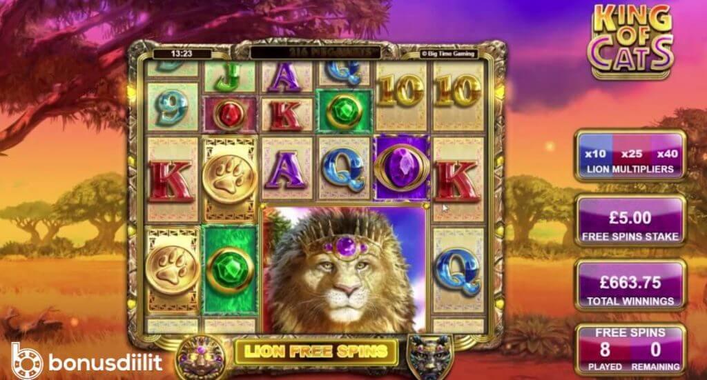Kinf of Cats big time gaming bonus