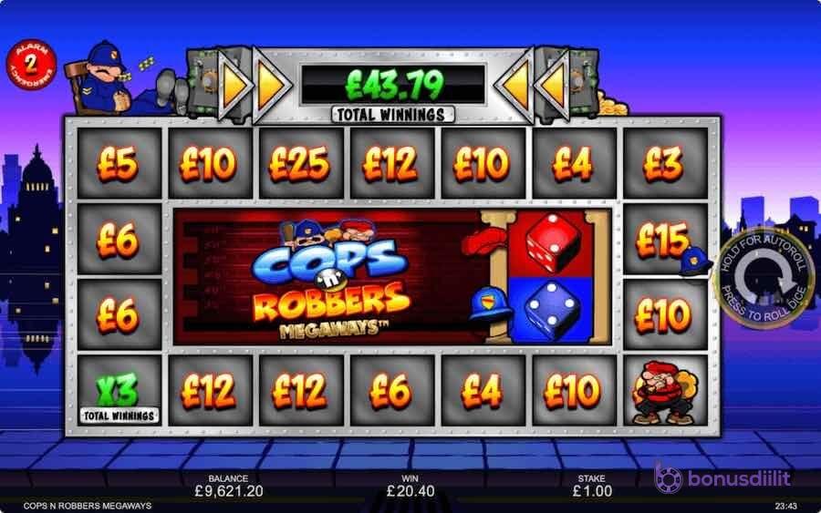 cops robbers megaways gameplay